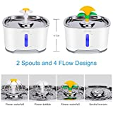 Cubic Cat Water Fountain Stainless Steel, Pet Water Fountain with Intelligent Pump and LED Indicator for Water Shortage Alert, 2.5L, Water Level Window, 3 Carbon Filter,1 Foam Filter, 1 Mat & Brushes