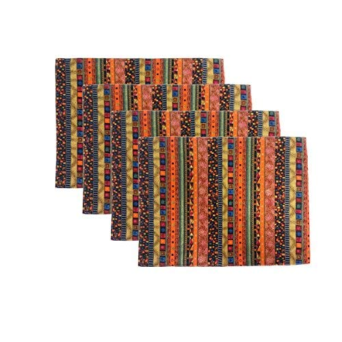 Aothpher Modern Rustic Striped Patterns Placemats Square Plaid Place Mats for Dining Table, 12x16 Inches, Set of 4, Multi-Color - Mediterranean Set Dresser