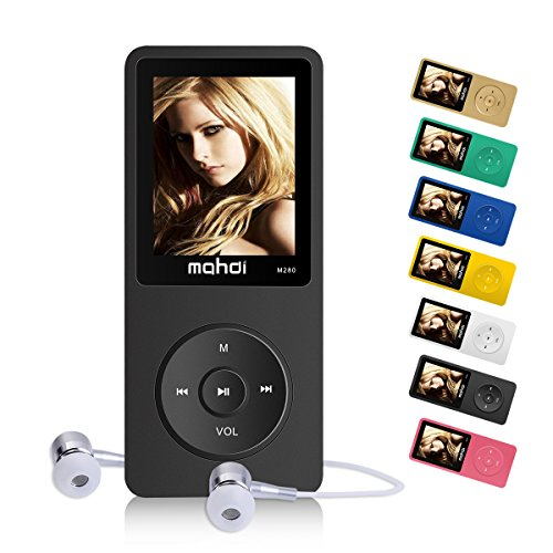 MYMAHDI 16GB MP3 Music Player 1.8 Inch Screen 70h Lossless Sound, Support up to 128GB Memory Card Black