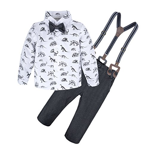 BIG ELEPHANT Baby Boys'2 Pieces Long Sleeve Dinosaur Shirt Pants Set with Bow Dinosaur B L64-B-100 18-24 Months