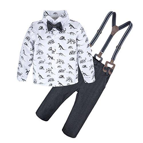 BIG ELEPHANT Baby Boys'2 Pieces Long Sleeve Dinosaur Shirt Pants Set with Bow Dinosaur B L64-B-80 6-12 Months ()