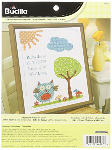 Bucilla Teddy Bear (Bucilla Counted Cross Stitch Birth Record Kit, 10 by 13-Inch, 46187 Woodland)