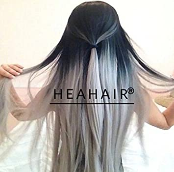 Amazon heahair high quality ombre black roots silver gray heahair high quality ombre black roots silver gray silky straight brazilian human hair extension human pmusecretfo Images