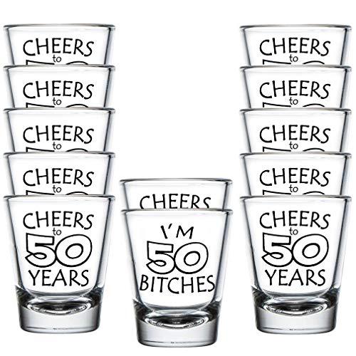 Shop4Ever I'm 50 B ~ Cheers to 50 Years ~ Shot Glasses ~ 50th Birthday ~ (Shot Set of 12, 1.5 -