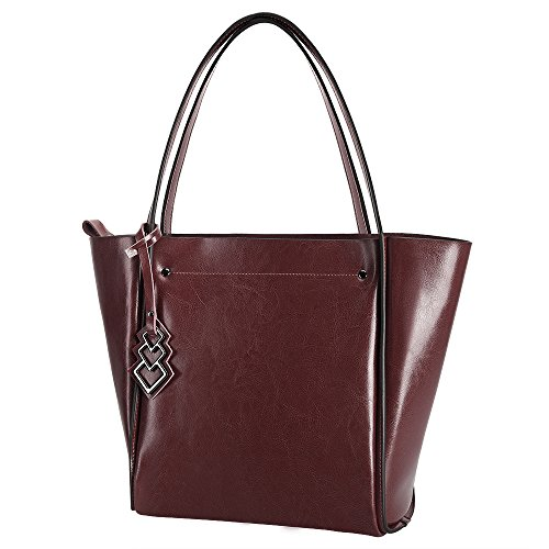 [BIG SALE- 43% OFF- S-ZONE Women's Fashion Genuine Leather Tote Shoulder Bag Handbag (Coffee)] (Double Shoulder Tote)