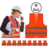 High Visibility Safety Vest Yellow and Orange 10 Pack, 10 pack Reflective Hi Vis, Silver Straps, Breathable Mesh | For Construction, Security, Traffic, Hiking, Outdoors, Running, (Orange)