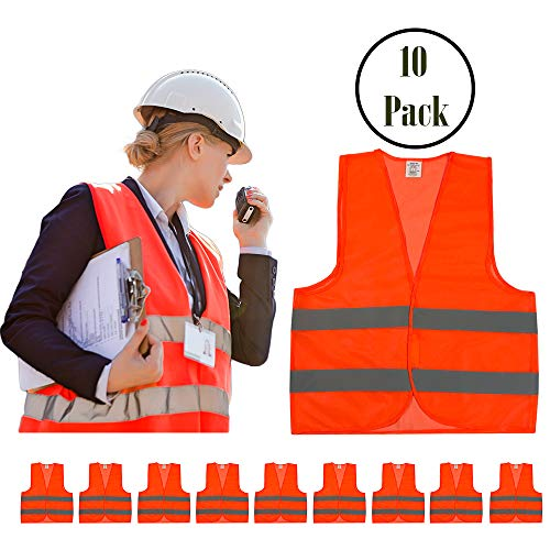 (High Visibility Safety Vest Orange 10 Pack, 10 pack Reflective Hi Vis, Silver Straps, Breathable Mesh | For Construction, Security, Traffic, Hiking, Outdoors, Running, (Orange))