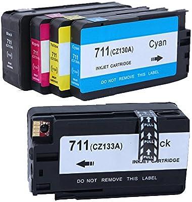 Karl Aiken Pack de 5 cartuchos de tinta 2 Negro 1 Cian 1 Magenta 1 Amarillo Compatibles para HP DesignJet T120, T520/repuesto para HP 711 X L/cz129 a, CZ130 A, CZ131 A,