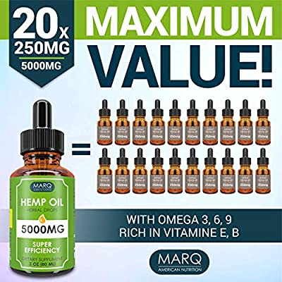 Hemp Oil Drops (5000MG) - Best Natural Hemp Seed Oil - Premium Colorado Seed Extract - Only Natural Ingredients - for Pain and Inflammation Relief, Reduces Stress and Anxiety, Provides Restful Sleep by Sonoran Nutra LLC