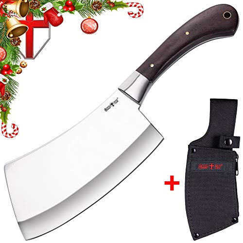 Meat Steel Classic Stainless Cleaver (Butcher Knife - Big hunters high carbon chef Cleaver/Chopper/Butcher stainless steel knife with wood handle for meat sushi & vegetables - Grand Way 3285 ACW-P)