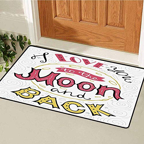 I Love You Inlet Outdoor Door mat I Love You to The Moon and Back Phrase Valentines Hand Drawn Couples Catch dust Snow and mud W23.6 x L35.4 Inch Pink Yellow Pearl