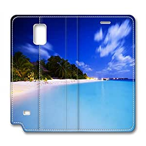 The Maldives Scenery Customized Design Leather Samsung Note 4 Case Sky and Cloud wangjiang maoyi