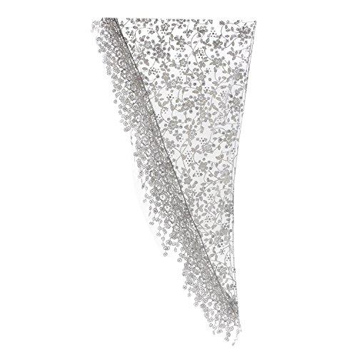 (Gilroy Women Hollow Tassel Lace Floral Knit Triangle Mantilla Scarf Shawl - Light Grey)