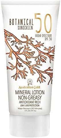 Australian Gold Botanical Sunscreen Mineral Lotion, Broad Spectrum, Water Resistant, SPF 50, 5 Ounce