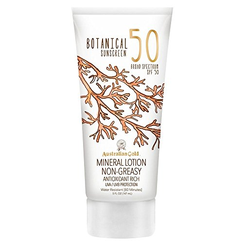 Australian Gold Botanical Sunscreen Mineral Lotion, Broad Spectrum, Water Resistant, SPF 50, 5 -