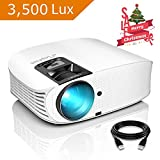 Projector, ELEPHAS [2018 Version] with 3, 500 LUX 200' 720P LCD Video Projector Support HDMI...