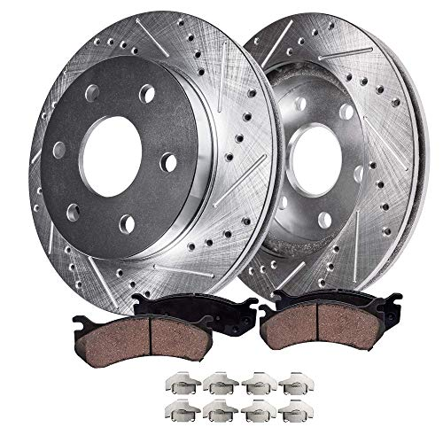 Detroit Axle - S-55097BK Front Ceramic Brake Pads and Rotors Slotted Drilled, Brake Clips 4-PC Set