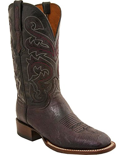 - Lucchese Men's Handmade Lance Smooth Ostrich Horseman Boot Square Toe Black Cherry 10.5 EE