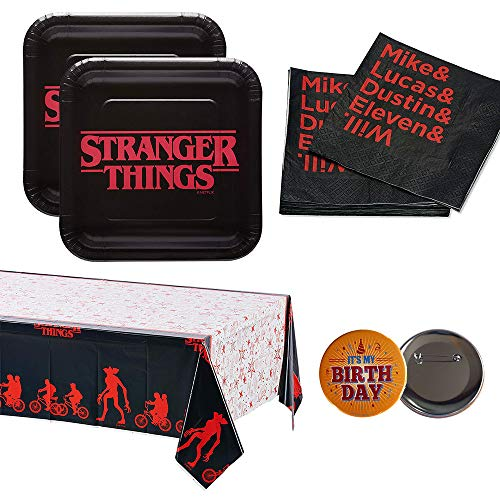 RDC Stranger Things Party Supplies for 16 Guests - Plates, Napkins, tablecover + Birthday Button - Officially -