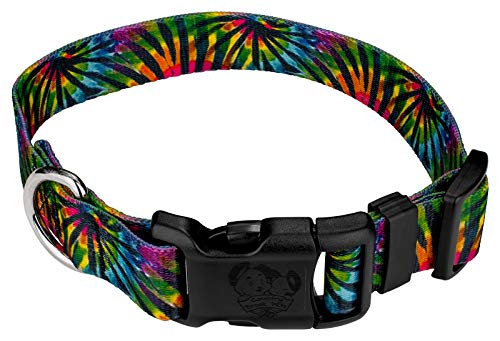 - Country Brook Petz   Tie Dye Stripes Deluxe Dog Collar - Groovy Collection with 5 Far Out Designs (1 Inch, Large)
