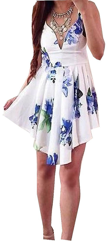 NQ Womens V Neck Floral Slim Fit Layered Irregular Hem Dress