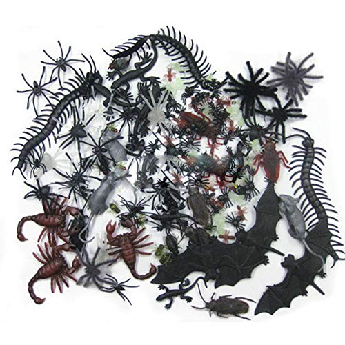 Unetox Realistic Joke Toy Plastic Bugs Fake Spiders Scorpion Flies Bat for Halloween Party Favors Decoration 44pcs ()