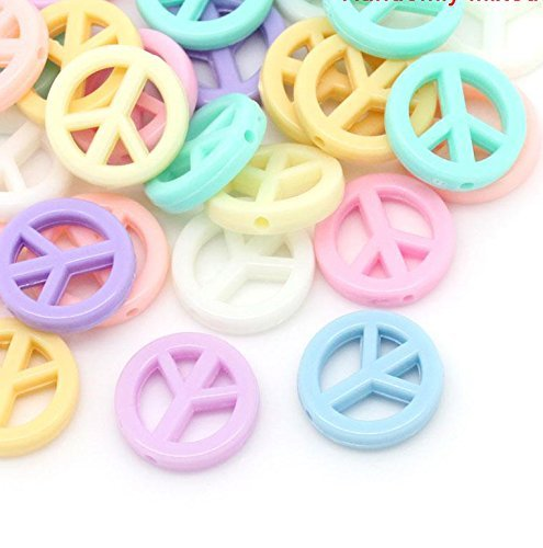 Rockin Beads Brand, 90 Pastel Peace Symbol Mixed Acrylic Beads About 17mm Dia with Hole - Mm Pastel 17