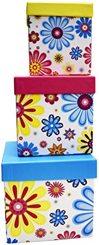 3 Nesting Boxes (Alef Elegant Decorative Themed Nesting Gift Boxes -3 Boxes- Nesting Boxes Beautifully Themed and Decorated - Perfect for Gifts or Simple Decoration Around the House! (Small Floral Petals))