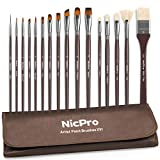 Nicpro Professional Paint Brushes for Acrylic Watercolor Oil Gouache Painting 16 PCS Art Brush Comb Round Filbert Angel Flat with Carrying Travel Bag