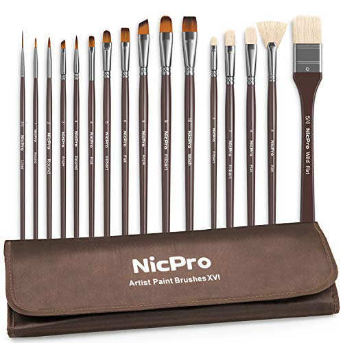 Nicpro Professional Paint Brushes for Acrylic Watercolor Oil Gouache Painting 16 PCS Art Brush Comb Long Handle Taklon & Hog Hair Round Filbert Angel Flat Brush with Carrying Travel Bag (Types Of Brush Strokes In Oil Painting)