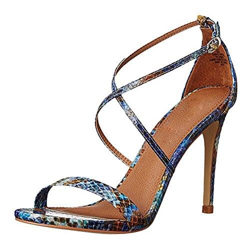 Damen Open Toe Sandalen High-Heel Stiletto Criss Cross Schnalle Snakeblau
