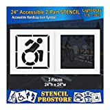 Pavement Stencils - 42 in - Accessible Icon Symbol Stencil with Background (2-Piece) - 42'' x 42'' x 1/16'' (63 mil) - Light-Duty