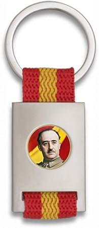 Tiendas LGP Albainox- Llavero Bandera de ESPAÑA y Chapa Francisco Franco, Plateado: Amazon.es: Equipaje