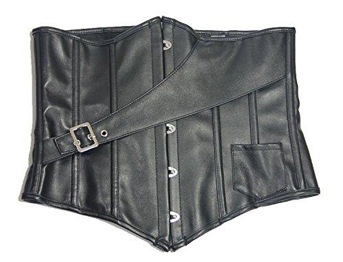 ZAMME Mujeres de acero deshuesado cinturón Cincher Sliner Cuero negro