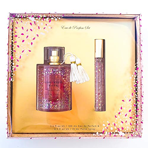 Florentine Rose Eau De Parfum Gift Set by Tru Fragrance and Beauty - Sweet Gourmand Fragrance for Women - Pear, Blushing Peony and Sandalwood - Full Sized 3.4 oz Perfume and 0.5 oz Travel Spray ()