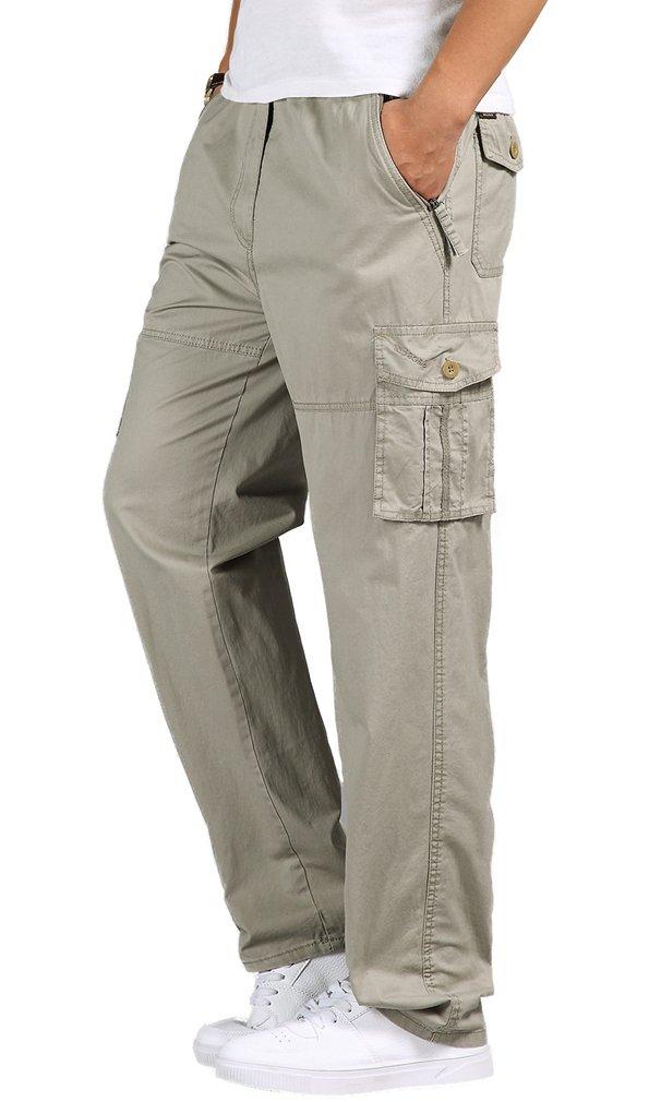 TBMPOY Men's Classic Twill Straight Leg Rip Stop Cargo Mountain Sport Pants(01 Light Gray,US 40)