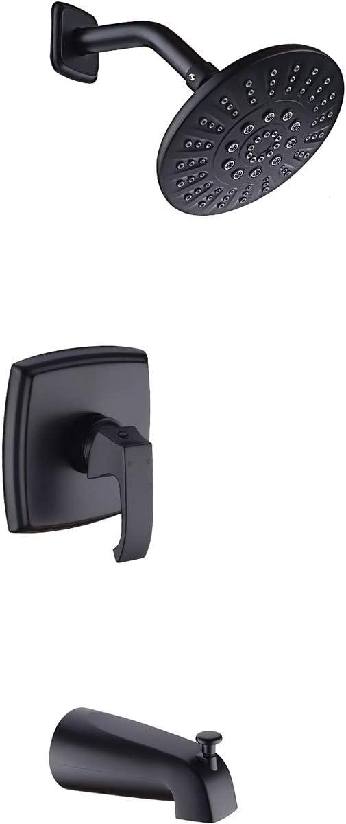 Tub Shower Faucet Set 5-Spray Rain Shower Head Pressure Balance Valve and Diverter Bathtub Spout, Shower System Combo, Matte Black (Rough in Valve Included)