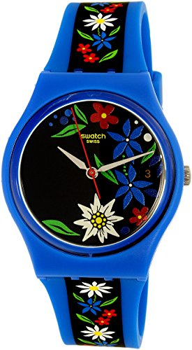 Swatch Women's Edelblau GN412 Blue Rubber Swiss Quartz Watch