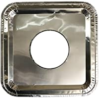 40 PC Aluminum Foil Square Gas Burner Disposable Heavy Thick Quality Bib Liners Covers (8.5 Square) from Cavalier