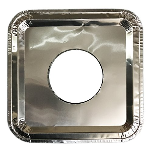 40 PC Aluminum Foil Square Gas Burner Disposable Heavy Thick Quality Bib Liners Covers (8.5