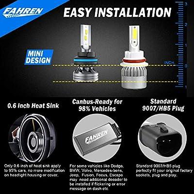 Fahren 9007/HB5 LED Headlight Bulbs, 60W 12000 Lumens Super Bright LED Headlights Conversion Kit 6500K Cool White IP68 Waterproof, Pack of 2: Automotive