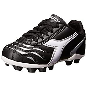 Diadora Capitano MD JR Soccer Shoe (Little Kid/Big Kid), Black/White/Silver, 5 M US Big Kid
