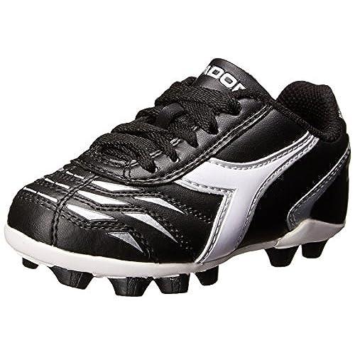 Diadora Capitano MD JR Soccer Shoe (Little Kid/Big Kid),  Black/White/Silver, 10 M US Little Kid