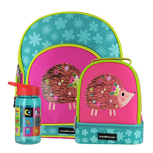 Crocodile Creek Hedgehog Backpack,Lunchbox & Drinking Bottle Bundle (3 items) (Crocodile Backpack Creek)