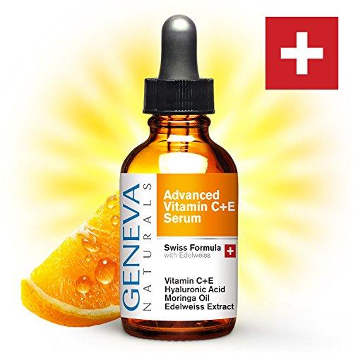 Geneva Naturals Vitamin C Serum - Professional Swiss Formula Features Vitamin C + E, Edelweiss Extract, Hyaluronic Acid & Moringa Oil (Advanced Skin Care C Serum compare prices)
