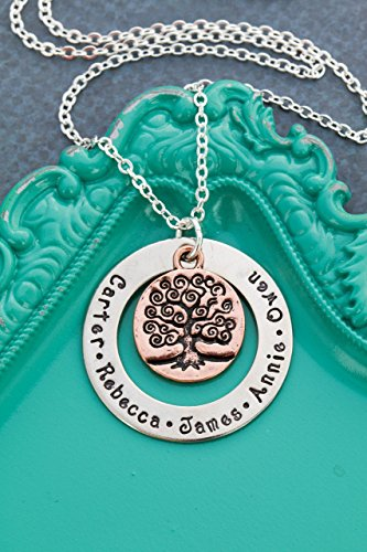 19 Mm Crystal (Family Tree Personalized Names Necklace – DII ABC - Grandmother Mom Gift - Handstamped Handmade Jewelry – 1 1/8, 3/4 Inch 29MM, 19MM Discs – Custom Names - Fast 1 Day Shipping)