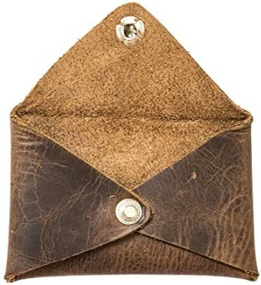 Hide & Drink Rustic Leather Envelope Shaped Coin Case Handmade Bourbon Brown