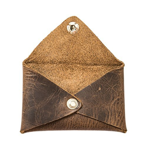 Hide & Drink Rustic Leather Envelope Shaped Coin Case Handmade Bourbon Brown (Coin Purse Leather)