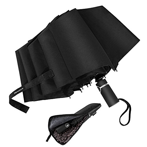 Newdora Windproof Travel Folding Umbrella Golf Umbrella Auto Open Close Button and Upgraded Comfort Handle, Lightweight 10 Ribs Automatic Windproof Canopy Compact with Light Reflective-Gift Waterproof by Newdora
