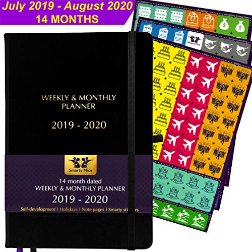 ⚡️ 2019-2020 Dated Planner + Stickers ⚡️ July 2019 - August 2020 (14 Months), A5, 100 GSM Paper, Hardcover, Inner Pocket, Weekly & Monthly Organizer to Achieve Goals & Improve Productivity (Black)